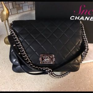 Auth. Chanel Black Le Boy Lambskin Messanger Bag